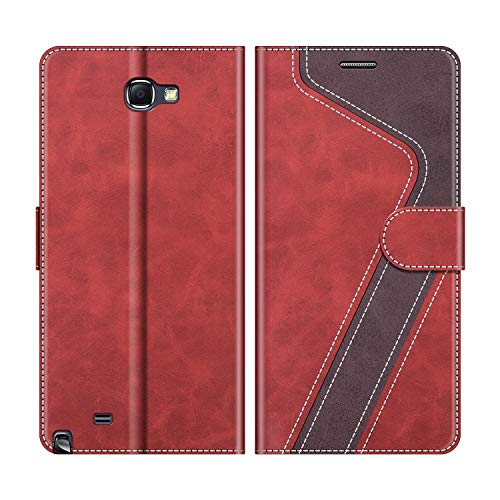 MOBESV Custodia Samsung Galaxy Note 2, Cover a Libro Samsung Galaxy Note 2, Custodia in Pelle Samsung Galaxy Note 2 Magnetica Cover per Samsung Galaxy Note 2, Rosso