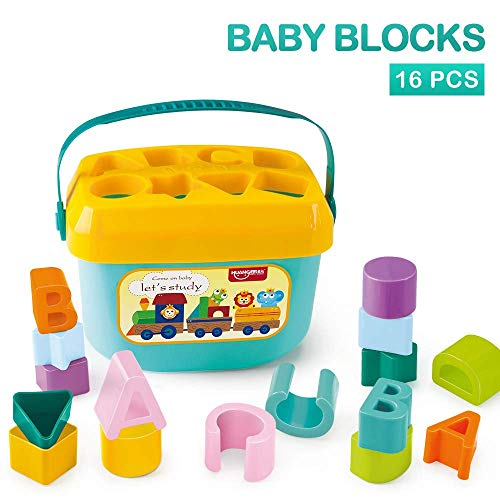 PLUSPOINT Baby's First Shape Sorting Blocks Learning- Educational Activity Toys with 16 Building Blocks