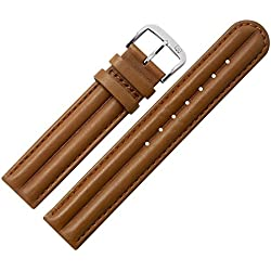 Cowhide Smooth Leather Watch Strap 18mm Brown Leather Effect, Matt &-MARBURGER Since 1945Watch Straps-Medium Brown/Silver