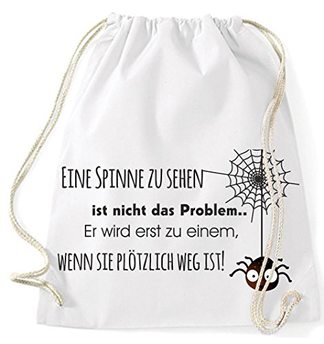 Jutebeutel Turnbeutel Sportbeutel Stofftasche Baumwolltasche Tasche Rucksack Gymsack Spider Web Eine Spinne zu sehen ist nicht das Problem (Surfblue) Weiß