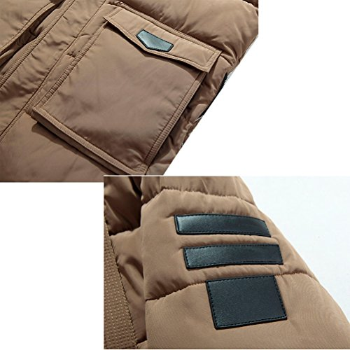 Zhhlaixing Klassisch Winter Mens Windbreaker Jackets Warm Outerwear Detachable Hat Long Hooded Coats Dark Blue