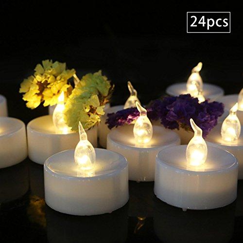 Advocator 24pcs Warm White Timing-Funktion Batteriebetriebene Kerzen Flimmern Flammenlos Led Teelicht Kerzen mit Timer 6 Stunden auf 18 Stunden aus in 24 Stunden Zyklus für Hochzeit, Party, Inneneinri