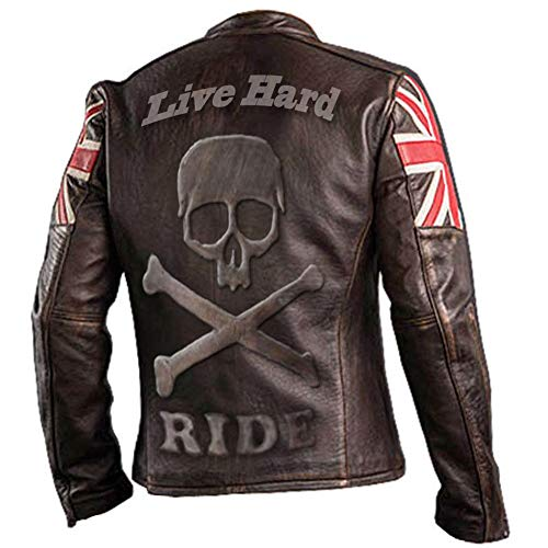 UK Flagge Vintage Biker Style Motorrad aus echtem Leder Motorrad Jacke Dunkelbraun mit Totenkopf Logo auf Rückseite - XXL geprägt (Vintage Motorrad Leder Jacke)
