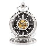 ManChDa Reloj de Bolsillo mecánico para Hombre, Collar analógico Vintage, con Caja de Regalo y Cadena para Hombre, Mujer (Negro/Plata/Oro) (2.MPH019)