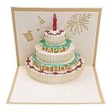 bloomeet 3d Pop-Up-Grußkarte Happy Birthday-Karte mit Umschlag, Geburtstag, für Familie & Freunde gold