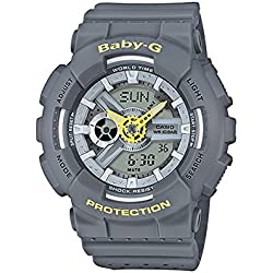Casio Women's Baby G BA110PP-8A Grey Resin Japanese Quartz Diving Watch