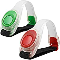 Brazalete brillante ligero de 2pcs / pack MAXIN LED, engranaje corriente reflexivo del silicón, resplandor de la pulsera del LED en la obscuridad - Venda de la palmada de la seguridad para el ciclo Runing, moviendo la alta visibilidad. ( Verde y rojo )
