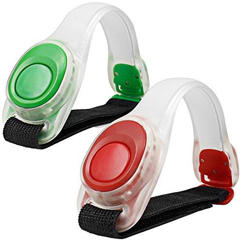 2pcs/pack MAXIN LED bracciale luminosa, riflettente silicone, braccialetto LED Glow in the Dark sicurezza della fascia di schiaffo per la bicicletta Runing, Jogging ad alta visibilità. (Verde e rosso)