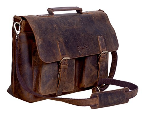 komalc 38,1 cm Retro Buffalo Hunter Leder Laptop Messenger Bag Büro Aktentasche College Tasche