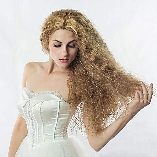 MUYIER Europäische und amerikanische Perücken, goldenes kleines lockiges Haar Damenmode natürliches kleines Volumen geeignet für jedes Gesicht Typ langes lockiges Haar schräge Pony