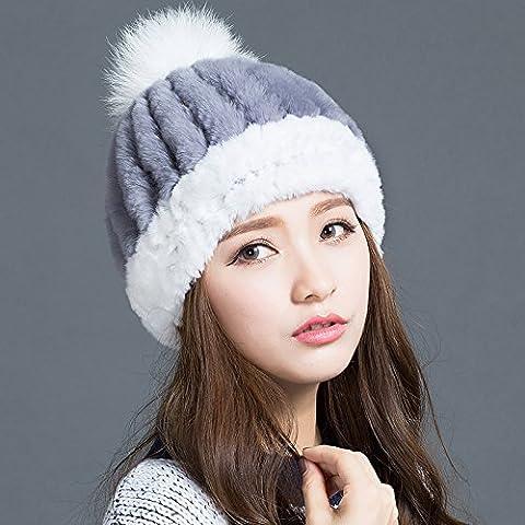 FQG*invierno Gorra marea sombreros tejidos de pelo de conejo cap niños coreanos señoras otoño e invierno sombrero de paja , Niños Invierno gris sólido blanco