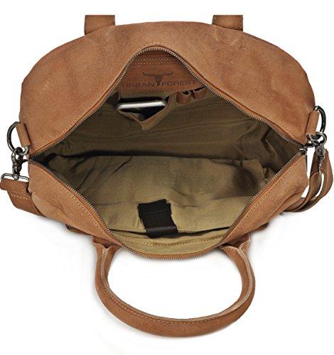 Leder Aktentasche Herren URBAN FOREST Cntmp Unisex Messengerbag Ledertasche Laptoptasche Damen Vintage Notebooktasche Herren Leder DIN-A4 Leder 39x30x13cm (B x H x T) Cognac
