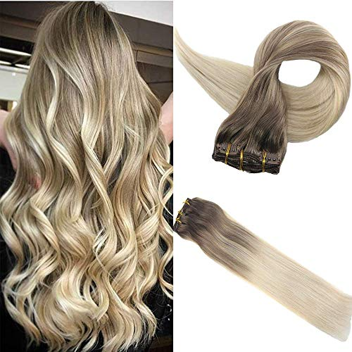 Full Shine 22 Zoll 140gram 10 Pcs klip haare Extensions Ombre Hair Extensions Clip in Echthaar Aschbraun Farbe #8 Fading to Colour #60 Platinum Blond Balayage Human Hair Extensions Clip in Real Hair