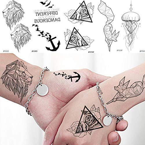 Yangll Tempopary Tattoo Aufkleber Geometrie Lion Fox Rose wasserdichte Dreieck Tattoo Quallen Anker Schwarz Sexy Tatoos Körper Arm 10,5X6 ()