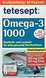 tetesept Omega-3 1000 - Seefisch- und Lachsöl Kapseln, Hochdosierte Omega 3 Fettsäuren DHA, EPA & Vitamin E - Unterstützung des Herz-Kreislauf-Systems, 1 x 80 Stück (Nahrungsergänzungsmittel)