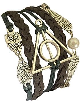 D'amelie Harry Potter Eule Armband Heiligtümer des Todes - mit Schnatz (Snitch) und Schleiereulen, versilbert...