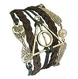 D'amelie Harry Potter Eule Armband Heiligtümer des Todes - mit Schnatz (Snitch) und Schleiereulen, versilbert - Deathly Hallows & Flügel Eule