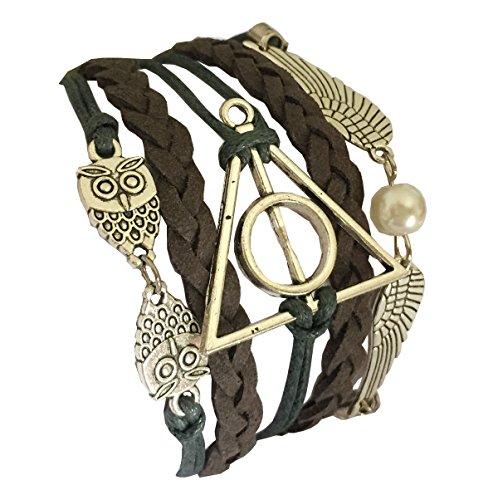 Damelie-Harry-Potter-Eule-Armband-Heiligtmer-des-Todes-mit-Schnatz-Snitch-und-Schleiereulen-versilbert-Deathly-Hallows-Flgel-Eule