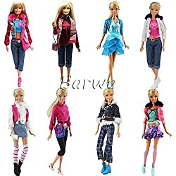 Barwa 3 Sets Fashion Casual Wear Clothes/outfit with 3 Pair Shoes for Barbie Doll Random Style