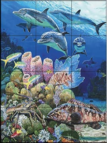 Bahama Reef by Carey Chen | Tile Mural for Kitchen Splashback | Bathroom Wall Tile Mural | UK made