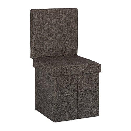 Relaxdays Faltbarer Sitzhocker mit Lehne HBT 73 x 38 x 38 cm stabiler Sitzcube mit praktischer Fußablage als Sitzwürfel und Sitzbank Leinen als Aufbewahrungsbox und Deckel zum Abnehmen, braun