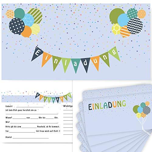 Postkartenschmiede 12 Einladungskarten Kindergeburtstag mit Luftballons – Einladungen Geburtstag Jungen Mädchen mit Umschlägen - Einladungskarten Kinder (hellblau)