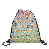 Richhapi Kreativ Design Emoji Lachen Lächeln Emoticon Beutel String bag Tasche Beuteltasche Turnbeutel