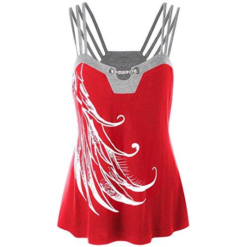 OSYARD Damen Plus Size Riemchen Tank Tops Ketten Verziert Bluse Ärmelloses Shirt(EU 46/XL, Rot)