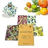 Baiwka Emballage Alimentaire de Cire d'abeille Bio, Ensemble de 4 Réutilisable Wraps à La Cire d'abeille Beeswax Wrap Grands Abeille de Wrap, Lavable et Biodégradable, Durable(Multicolore)