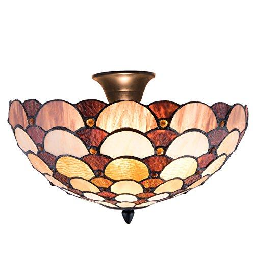 Lumilamp 5LL-5904 Deckenleuchte Art Deco Tiffany Stil Ø 41 * 29 cm / E14/Max. 2x40 Watt dekoratives buntglas tiffany stil