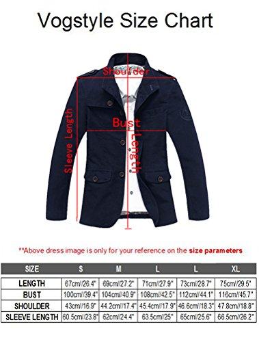Vogstyle Hommes Pardessus Slim Fit Lapel Outwear le bouton d'homme Cotton Trench Coat Jacket 8720 Kaki