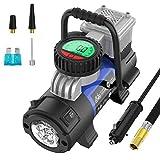 Mbrain Kompressor 12 Volt - Klein Tragbare Digitaler Luftpumpe Luftkompressor Reifenpumpe Reifenfüller mit Messgerät für Auto, SUV, Fahrrad, Motorrad und Schlauchboot