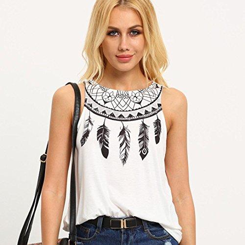 Femmes Hauts sans manches , Transer ® Femmes Casual plume imprimé chemisier été T-Shirt Blanc