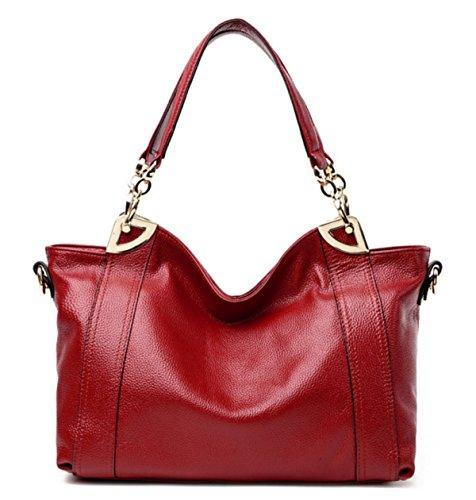 FZHLY Pelle Europa E Negli Stati Uniti Messenger Shoulder Bag Big Capacity,Brown WineRed