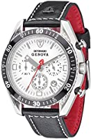 DETOMASO Genova Men's Quartz Watch with White Dial Analogue Display and Black Leather Bracelet Sl1592C-Ch