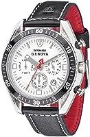 DETOMASO Genova Men's Quartz Watch with White Dial Analogue Display and Black Leather Bracelet Sl1592C-Ch