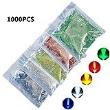 Bluelover 1000Pcs 5Mm Led Blu Verde Giallo Rosso Bianco Rotondo Diodo Led Kit Di Colore Misto