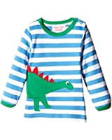 Toby Tiger Unisex LSAGDINO Striped Round Collar Long Sleeve T-Shirt