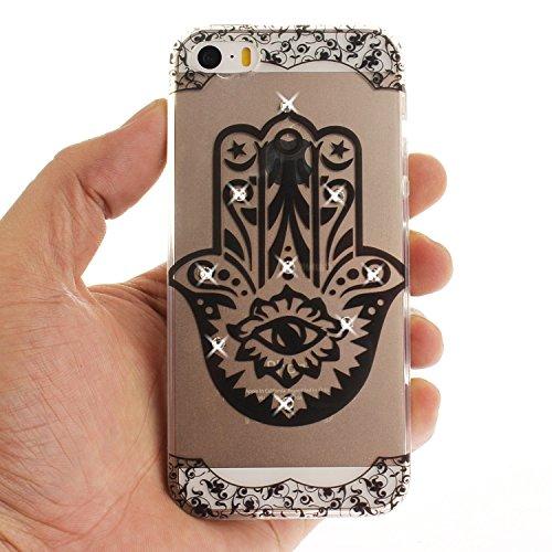 Case iPhone 5S , Coque iPhone SE , Anfire Étui Souple Flexible en Premium TPU Apple iPhone SE / 5S / 5 Motif Azteque Ultra Mince Gel Silicone Cas Bling Bling Strass Clair Transparent Housse de Protect Palm