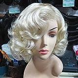 GWM Perruque, Perruque Marilyn Monroe, Modèles Or Européens Et Américains Cheveux Bouclés, Commerce Extérieur Original Simple Jaune Clair