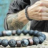 YIYIYYA Herren Armband Natürliche Lava Stein Perlen Strang Armband Unisex Armband Holzperle Zubehör Schmuck Geschenk