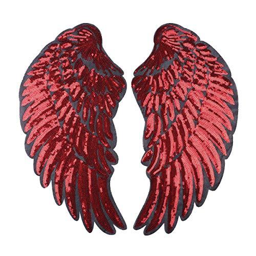 dPois Engel Flügel Aufnäher Patch Sticker Bügeln Stickerei Pailletten Applikation Engel Flügel Muster für T-Shirt Jeans Kleidung DIY Kleidung Patches Aufkleber Rot B One - Engel Flügel Muster Für Kostüm