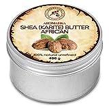 Manteca de Karité 400g - Africana - Sin Refinar - 100% Puro y Natural - Prensado en Frío - Mejor para el Cabello - Piel - Labio - Cara - Cuidado del Cuerpo - Manteca de Karité - Frasco de Aluminio