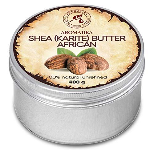 Shea Butter Kaltgepresst und Unraffiniert 400 g -100% Rein Und Natürlich Karité Body Butter - Afrika - Körperbutter - Intensive Pflege für Gesicht - Körper - Haare - Körperpflege -