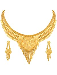 Asmitta Flower With Round Design Gold Plated Choker Necklace Set For Women