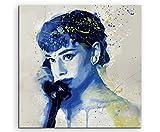 Audrey Hepburn V Aqua 60x60cm - Splash Art Paul Sinus Wandbild auf Leinwand - Malerei, Kunstbild, Aquarell, Fineartprint