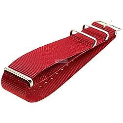 Nato Uhren Armband Nylon Ersatzband verschiedene Breiten 919red rot, Breite:22 mm