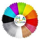 3D Stift Filament, Mixigoo 12 Farben 5M 3D Pen PLA Filament Ink Filament 1.75mm High Quality 3D Stift Farben Set für ODRVM, Tipeye, Uvistare, Lovebay, PLUSINNO, QPAU, Canbor, Juboury, Nexgadget und dikale 3D Druckstift