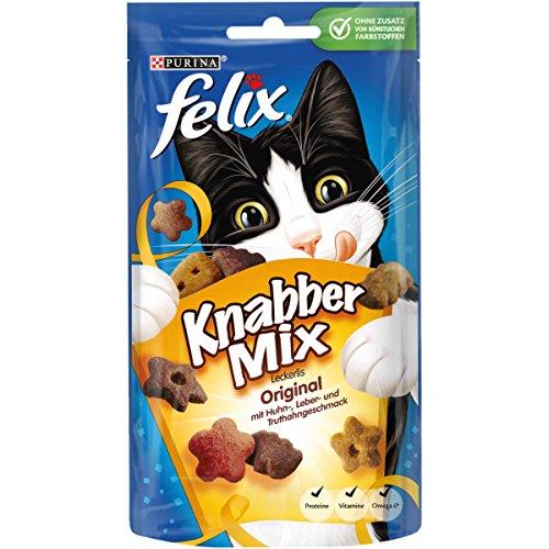 Felix 12183553 KnabberMix Original mit Huhn-, Leber- und Truthahngeschmack, Katzenleckerlies, 8er Pack (8x60 g Beutel)