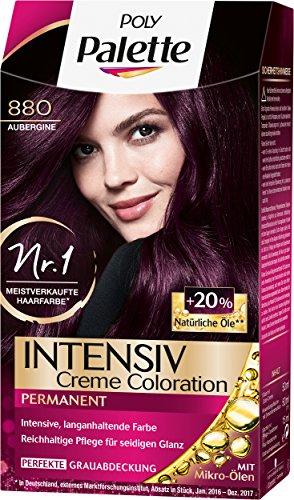 Poly Palette Intensiv Creme Coloration, 880 Aubergine Stufe 3, 3er Pack (3 x 115 ml) -